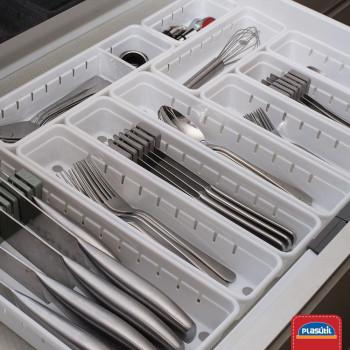 Organizador de Gaveta de Plástico com Suporte Móvel para Facas L2 (37,5x15,4x5,0 cm) - 9740 - Plasutil