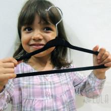 Cabide de Veludo Infantil 30 cm - kit com 10 peças - Preto - Loladecor
