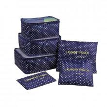 Organizador de Mala - Kit com 6 peças - Azul com Bolinhas - Loladecor Artigos e Decorações