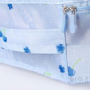 Organizador de Mala - Kit com 7 peças - Azul com Cerejas - Loladecor Artigos e Decorações