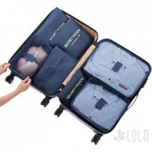 Pack Organizador de Mala 7 pecas com Porta Calcados - 04 Kits - 02 Azul Marinho -  01 Vinho - 01 Azul Bebe