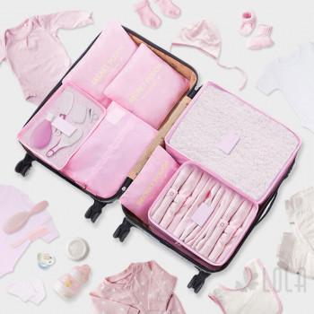 Pack Organizador de Mala 7 pecas - 04 Kits - Rosa Bebe Azul Medio Cinza Pink