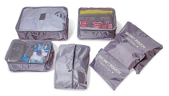 Organizadores de Mala Cinza kit com 7 peças